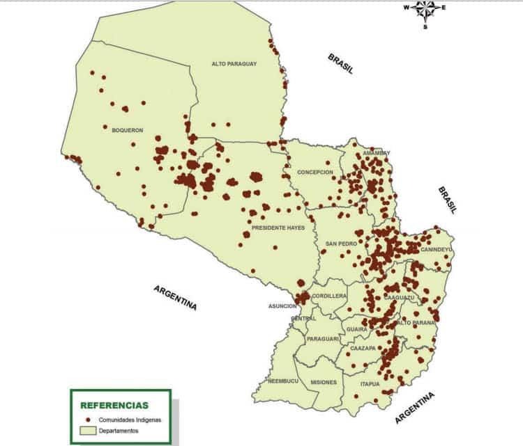 Pueblos indígenas en todo el Paraguay. Sus comunidades, aldeas/barrios y núcleos de familias, 2012.