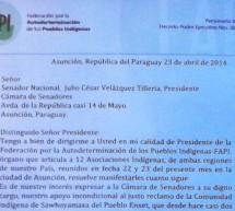 FAPI envía a Senadores carta de apoyo a la comunidad Sawhoyamaxa