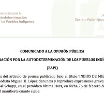 Comunicado de la FAPI sobre la denuncia realizada por periodista en su artículo «Indios de mierda»