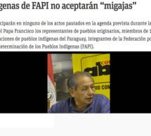 La razón del posicionamiento de la FAPI de no participar de los actos centrales durante la venida del papa Francisco a Paraguay