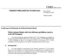 Para descargar: El documento completo del resultado de evaluación de las Naciones Unidas sobre los logros de Paraguay en la lucha contra la discriminación racial