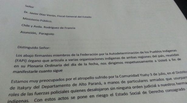 Representantes de asociaciones indígenas expresan su preocupación al Fiscal General del Estado por el atropello contra la Comunidad Ysaty 3 de julio
