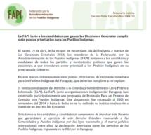 La FAPI insta a los candidatos que ganen las Elecciones Generales cumplir siete puntos prioritarios para los Pueblos Indígenas